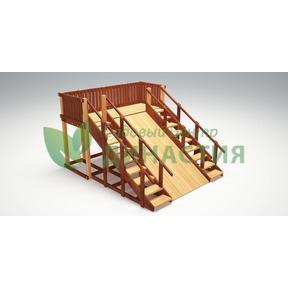 Зимняя деревянная игровая горка Савушка Зима 4